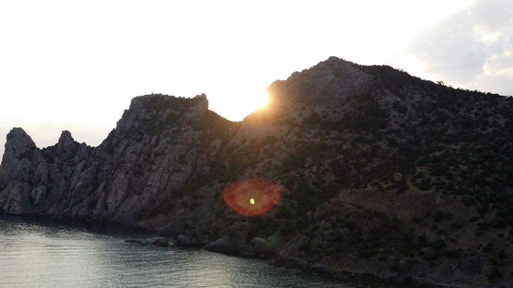 горы, море, солнце, закат