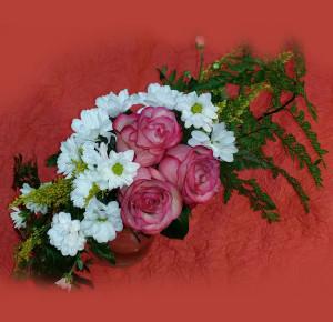 цветочная композиция вид сверху